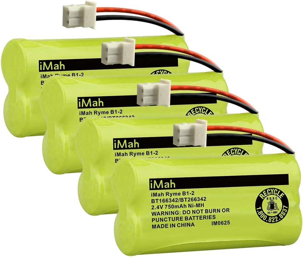 imah Ryme B1–2BT166342BT266342BT183342BT283342teléfono inalámbrico baterías para Vtech CS6114CS6429cs6719–2AT & T el5210el51203teléfono teléfono (Pack de 4)