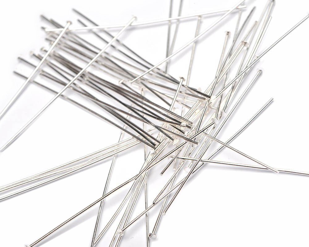 Beads Unlimited 2-inch Silver Plated Metal Headpin, Pack of 100 HPSP-100