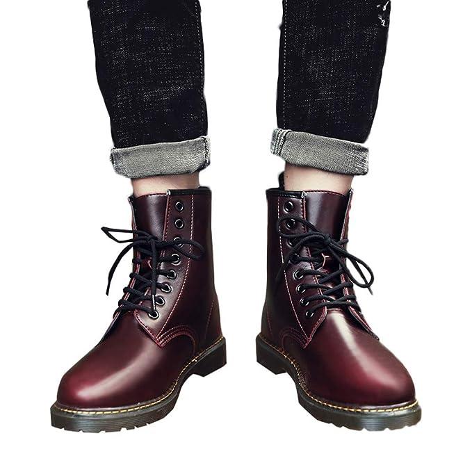 Zapatos de hombre JiaMeng Moda Oxford Zapatos con Cordones Botines Adventure Adulto de Punta Redonda de Cuero de Negocios Informal con Cordones Zapatos ...