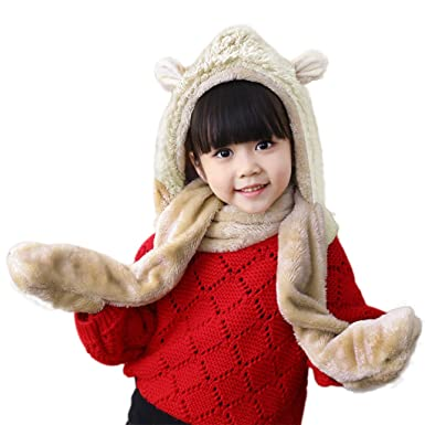 Kids Cartoon Winter Soft Fluffy Earmuff Full Hoodie Cap Hat with Gloves Mitten Pocket Long Scarf Thermal Fleece Scarves Hat Gloves Christmas Birthday Gifts