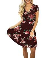 Swiland Women V Neck Short Sleeve Floral Printed Casual Retro Wrap A Line Dress