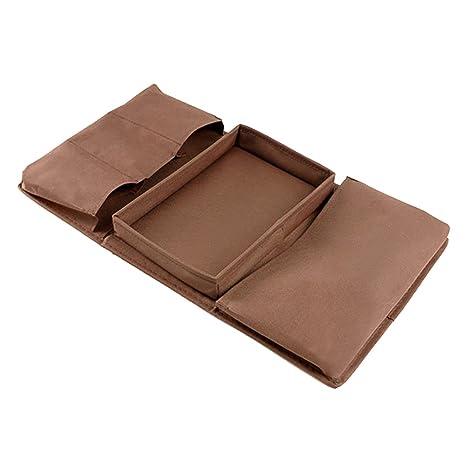 Resistente organizador para apoyabrazos de sofá con sujetavasos, bolsillos para mando a distancia, dispositivos Apple, móviles, tablets, revistas, DVD, ...