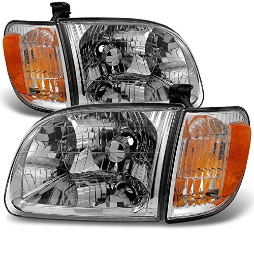 For 2000 2001 2002 2003 2004 Toyota Tundra Regular | Access Cab Headlights w/ Corner Lights LH + RH Pair ()