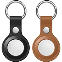 veryUfun 2 Pack Leather Case for AirTag Finder, Anti-Scratch Protective Skin Cover with Keychain Compatible with AirTags…