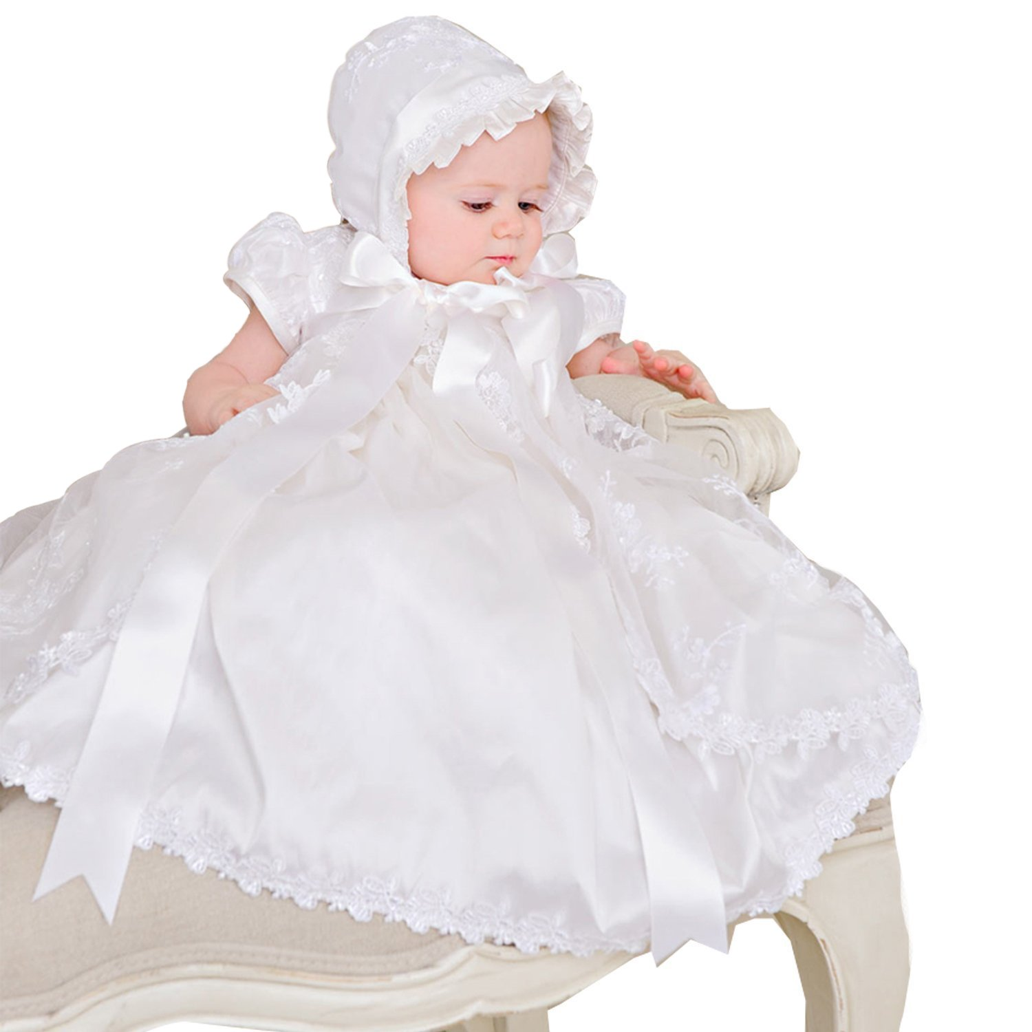 Pretydress Babygirl Lace White Christening Gown Baptism Dress with Bonnet