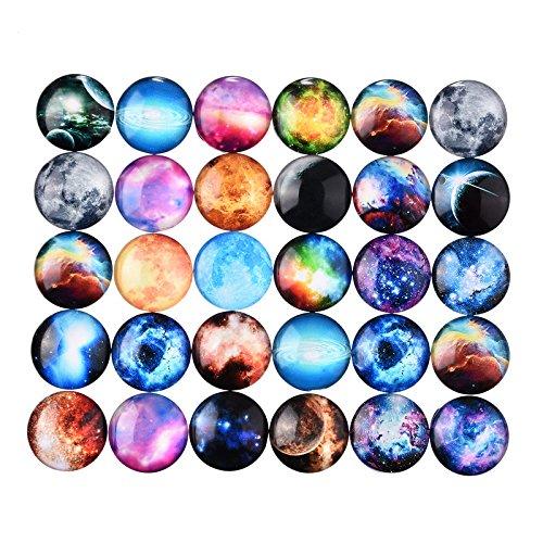 Mix Color Glass Cabochon Flat Nebula DIY Handicraft Garden Decoration 20 Mm 10 Pcs - For Glasses Chubby Frames Faces