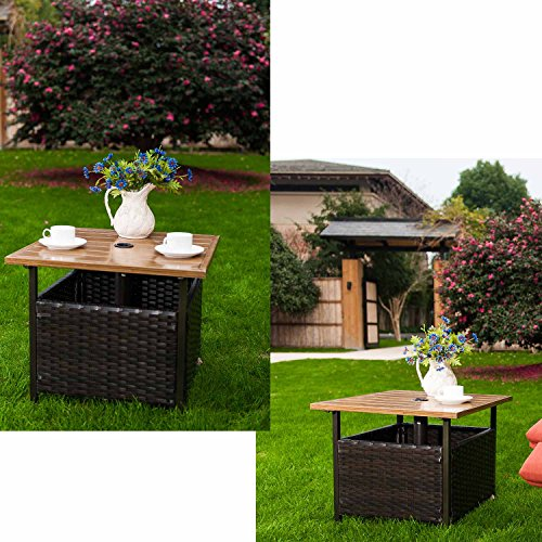 Patio Umbrella Base Side Table Outdoor Bistro Stand With