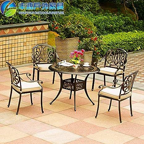 Huoduoduo Silla y combinación de mesa de centro, mesa y silla tejidas de hierro forjado, a prueba de herrumbre y fácil de limpiar, adecuada para el hogar/oficina/cafetería, (1 mesa, 4 sillas): Amazon.es: