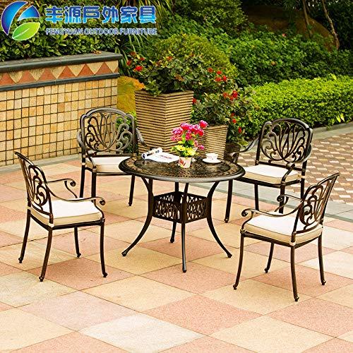 Combinazione tavolo e tavolino SEEKSUNG, tavolo e sedia in ferro battuto intrecciato, resistente alla ruggine e facile da pulire, adatto per casa/ufficio / bar, (1 tavolo, 4 sedie), bianco