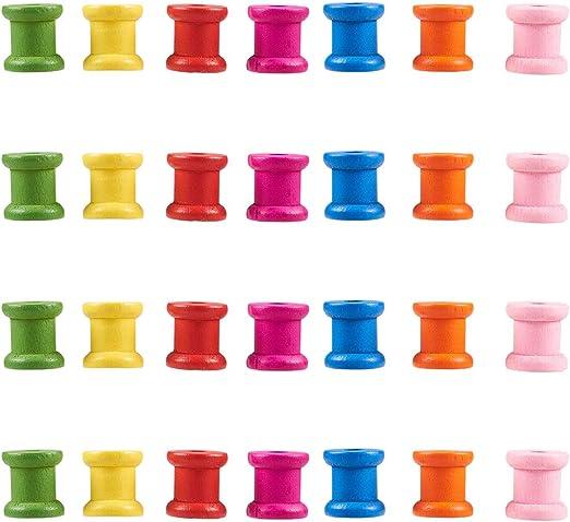 14mmx12mm COMEYOU 100 Unids Mini Color Natural Carretes Vac/íos de Madera Hilo Cintas de Hilo Bobinas Cables de Alambre Bobinas Adornos