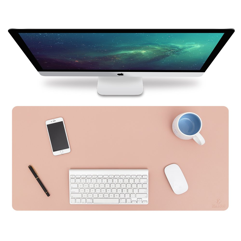 Knodel Desk Pad Protector, 31.5'' x 15.7'' PU Leather Blotter, Rectangular Laptop Desk Mat, Non-Slip Mouse Pad, Waterproof Gaming Writing Mat for Office and Home, Dual-Sided (Pink/Silver)