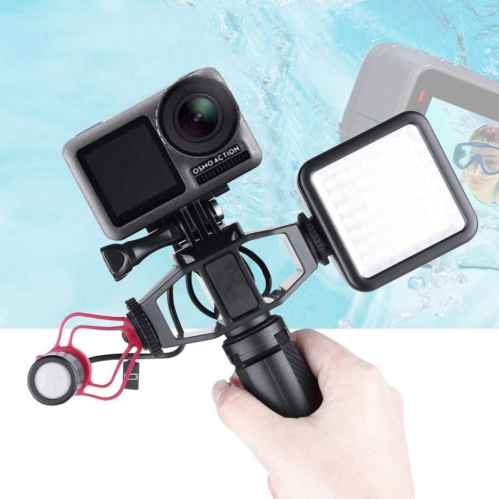 thing-ning Vlogging Setup Bracket with 2 Cold Shoe Mic Mount Tripod Adapter for DJI Osmo Action 4K Camera For DJI Osmo Action Vlogging Setup Bracket