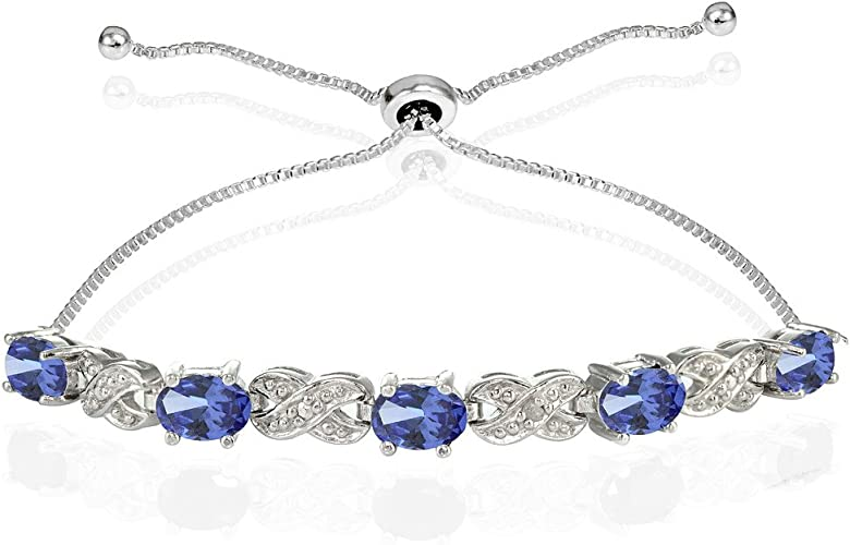 Sterling Silver Bead and faceted Tanzanite Crystal Bracelet adjustable