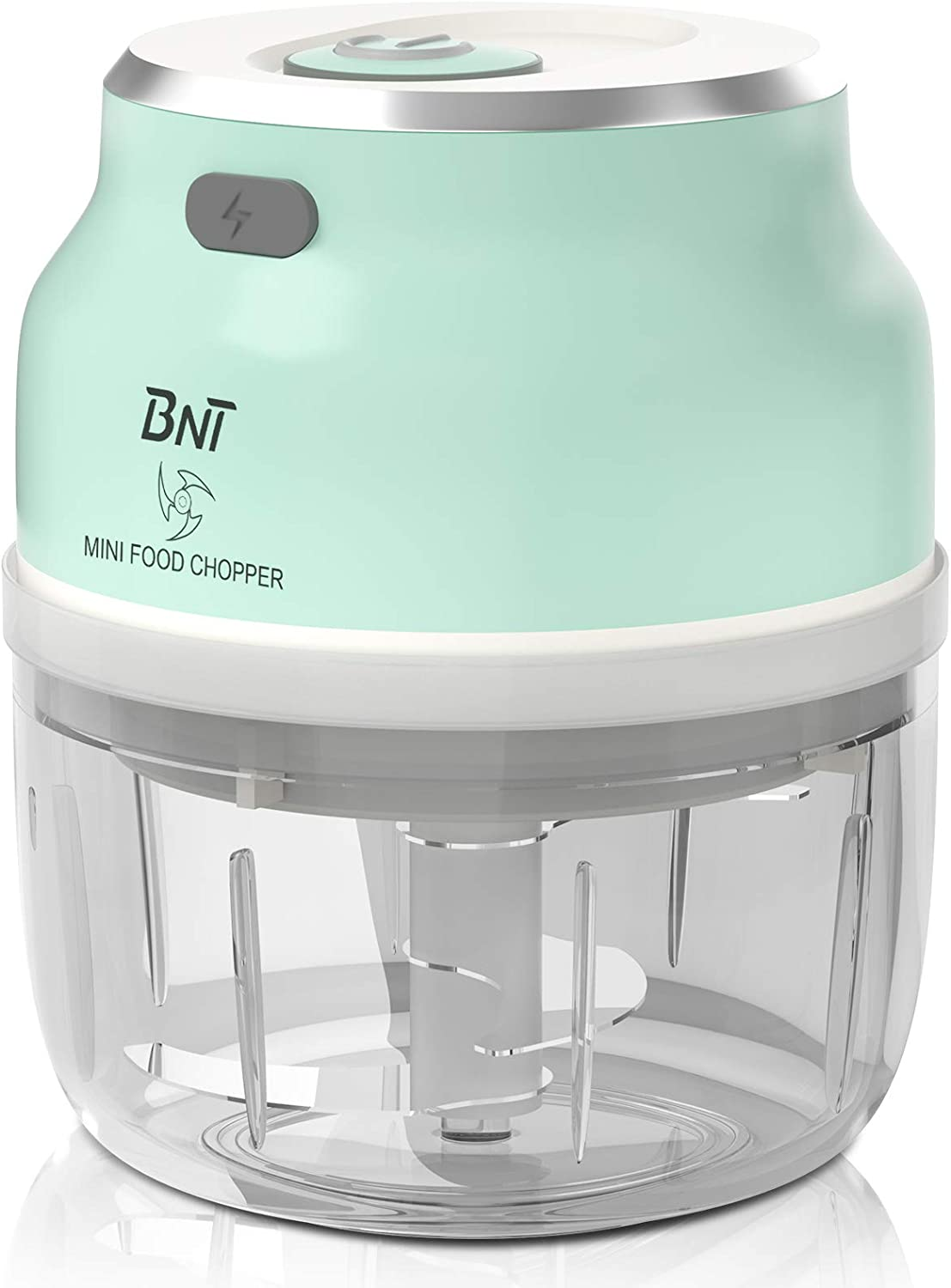 Mini Chopper, 250ml BNT Garlic Chopper with Improved Assembly, Powerful Food Chopper with Four Blade for Garlic/Fruits/Vegetables/Onions/Nuts/Pepper/Ginger/Salad, Fast Chip Piece In Seconds