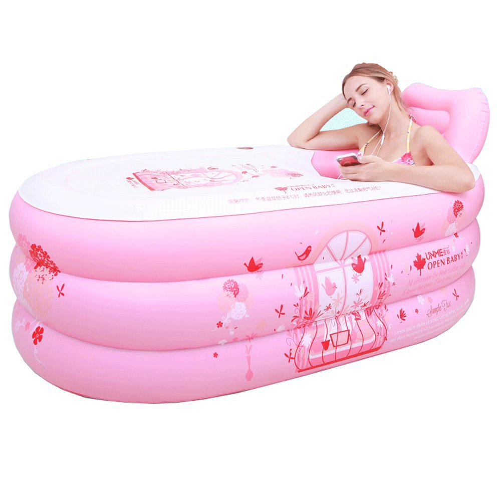Pink Inflatable Bath Home SPA Bathtub Large Adult Bathtub Foldable Thick Keep Warm Body Reclining Single Save Water Bath Barrel Plastic Bath Tub