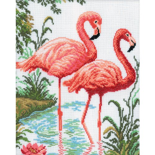 Rto Flamingos Counted Cross Stitch Kit  10 1 4 By 12 1 4 Inch