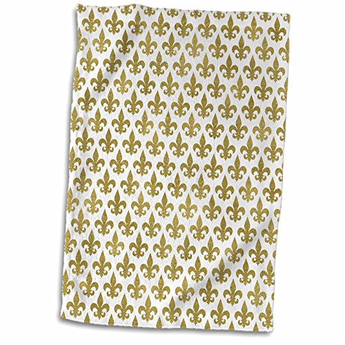 3dRose Anne Marie Baugh - Patterns - Glam Gold Fleur De Lis