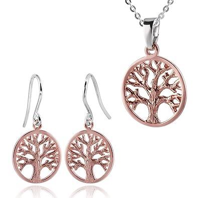 [Sponsored]ANTOMUS® 18K ROSE GOLD VERMEIL SOLID 925 STERLING SILVER PAIR OF TREE OF LIFE EARRINGS afiI6Y59cu