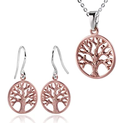 f7e4d09f0ebc MATERIA Oro Rosa joyas set Cadena + 925 plata pendientes vida algodón    colgante dorado