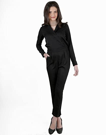 Black Long Jacket Style Jumpsuit By Magnetic Designs Mdrom318