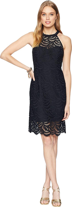 Lilly Pulitzer Womens Kenna Halter Dress Onyx Scalloped Fan