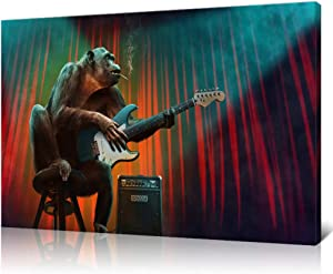 Innopics Chimpanzee Smoking and Playing Guitar Print on Canvas Humor Animal Picture Painting Popular Music Style Wall Art Decor Stretched and Framed for Home Office Living Room Decoration 24