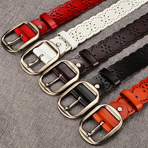Women Leather Belts 38mm Wide Jeans Belt Fashion Belts for Skirts Metal Buckle Belts Leather Black Fits 27 Inch to 35 Inch By MoAnBee by MoAnBee (Image #2)