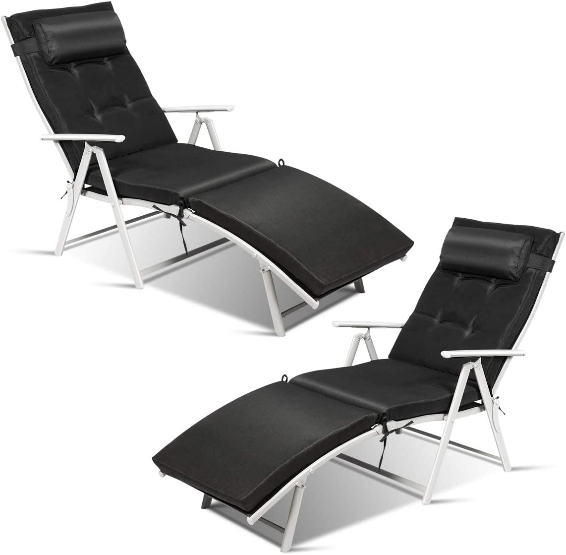 2pcs Outdoor Folding Lounge Chairs Pillow Beach Patio Recliner Portable Pack New