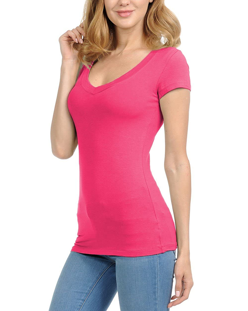 392a681c Women T-Shirts with Short Sleeves Casual Top Junior and Women Round Crew  Neck and Deep V-Neck with Short Sleeves T-Shirts.