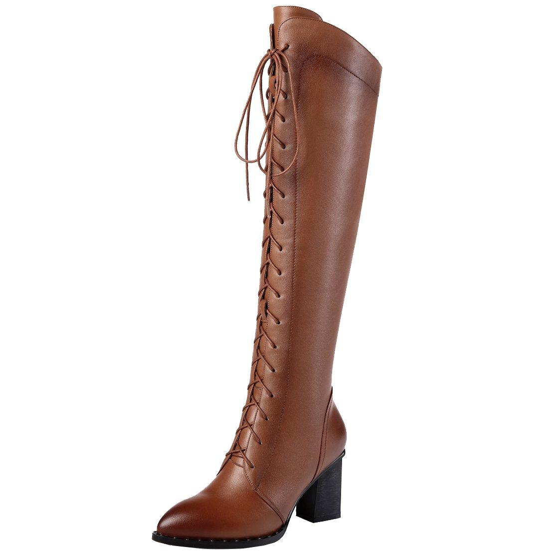 AIYOUMEI Damen Winter Leder Kniehohe Stiefel mit 7cm Absatz und Schnürung Eelgant Winter Knee High Stiefel