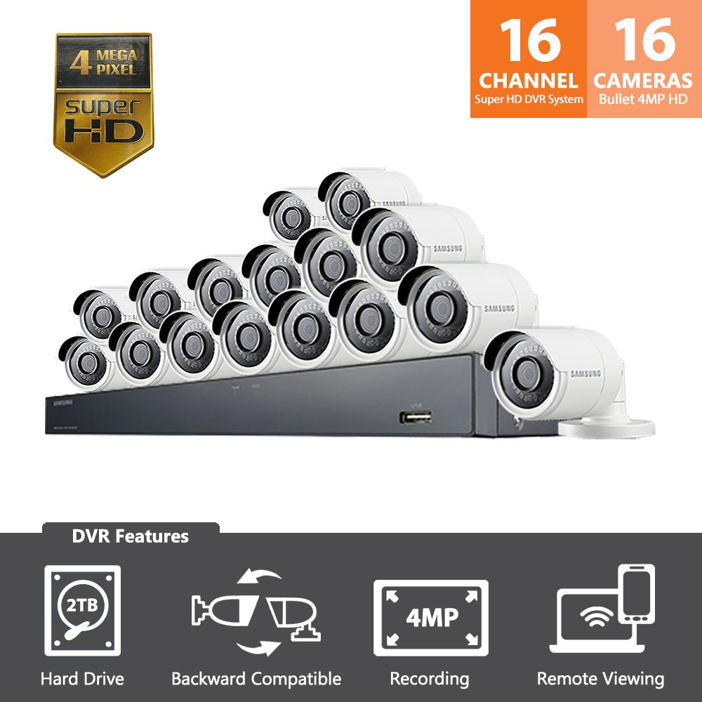 Samsung Wisenet SDH-C85100-16 16 Channel 4 MP Super HD NVR Video Security System 16 Bullet Camera (SDC-89440BC) with 2TB Hard Drive