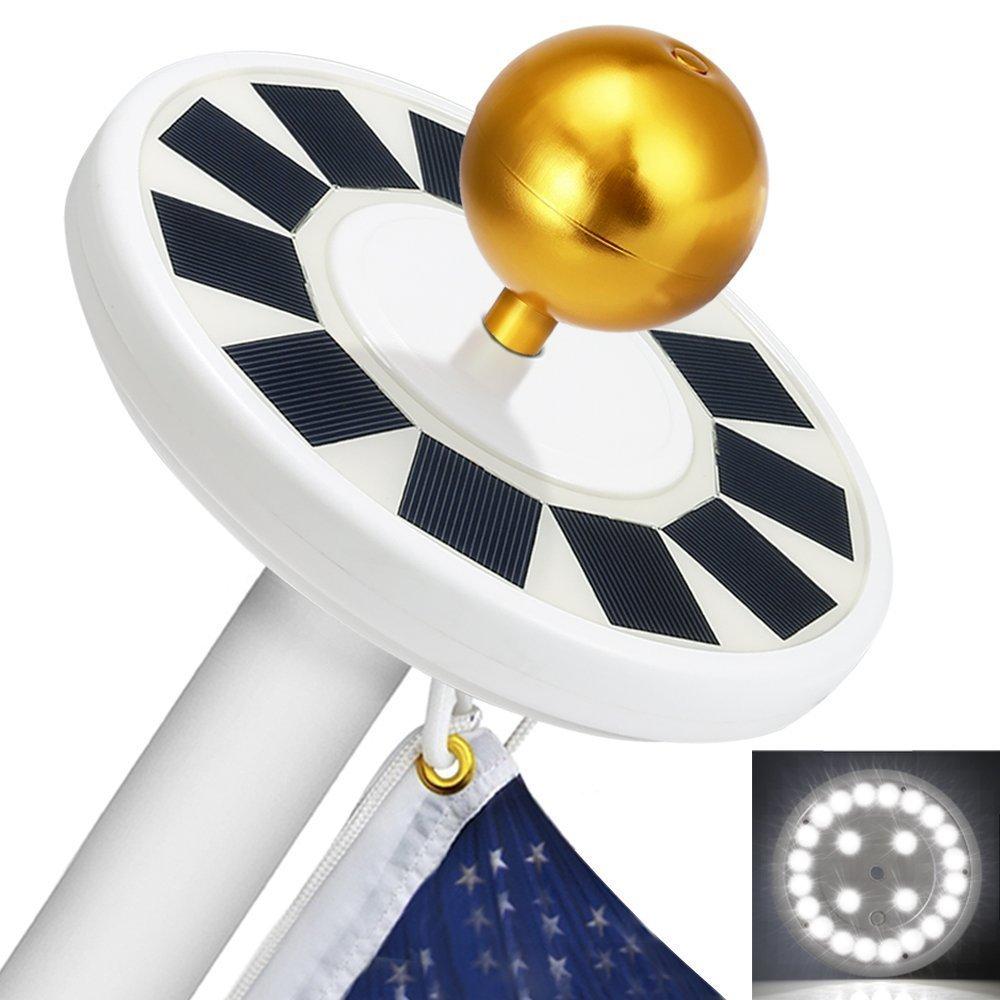 Sunnytech 2018 3rd Generation Black - Solar Power Flag Pole Flagpole Light Guarantee - Biggest Size - Best Solar Flag Light in the World