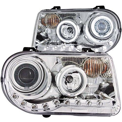 300c Halo Led Projector Headlights - Chrysler 300C 05-Up Projector Headlights G2 Halo L.E.D Chrome Clear Ccfl W/O Hid + 8 Led Fog Bumper Light