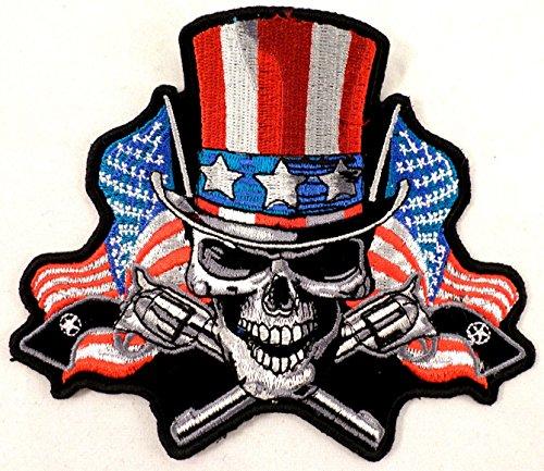 (Angrier Uncle Sam Flag & Pistols Skull Biker Motorcycle Uniform Patch 10X9 #P-Xl)