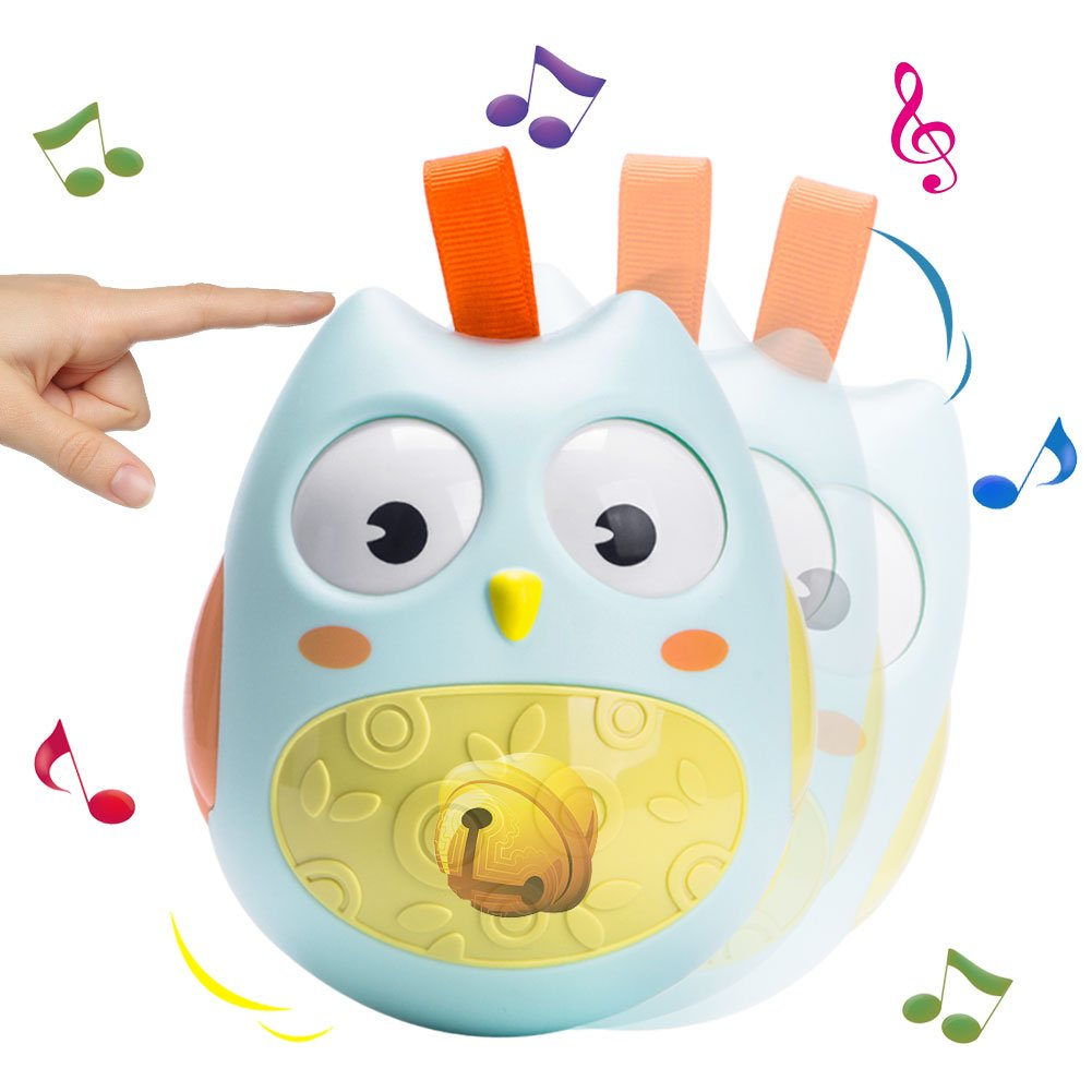 Tumbler Toys, Hanging Owl Toys,Dmeixs Hanging Rattle Toys,Educational Owl Toys Baby Infant Newborn Roly Poly Toys with Rolling Eyes for Toddlers and Kids