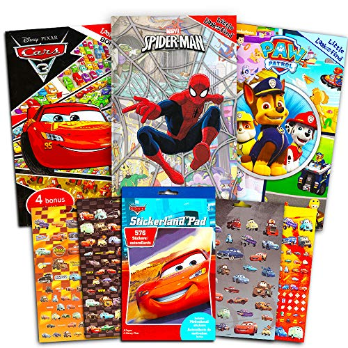 Look and Find Books Super Set Kids Toddlers Boys -- 3 Find It Books Featuring Disney Cars, Marvel Spiderman, and Paw Patrol (Bonus Stickers)