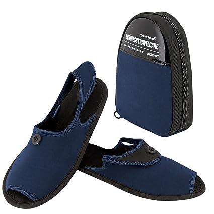TRAVELMALL Unisex portátil plegable Zapatillas viaje antideslizante zapatillas zapatos de playa plegable con almacenamiento bolsa de transporte, tela, azul, Large