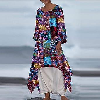 Amphia damska elegancka długa sukienka maxi suknia wieczorowa, kołnierz z okrągłym dekoltem z długimi rękawami, bez pozycji, sukienka z nadrukiem: Odzież