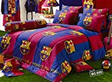 Barcelona Fc Football Club Official Licensed Bedding Set, Bed Sheet, Pillow Case, Bolster Case, Comforter, Bc002 (Set A+1) Twin Size (La Liga Soccer)