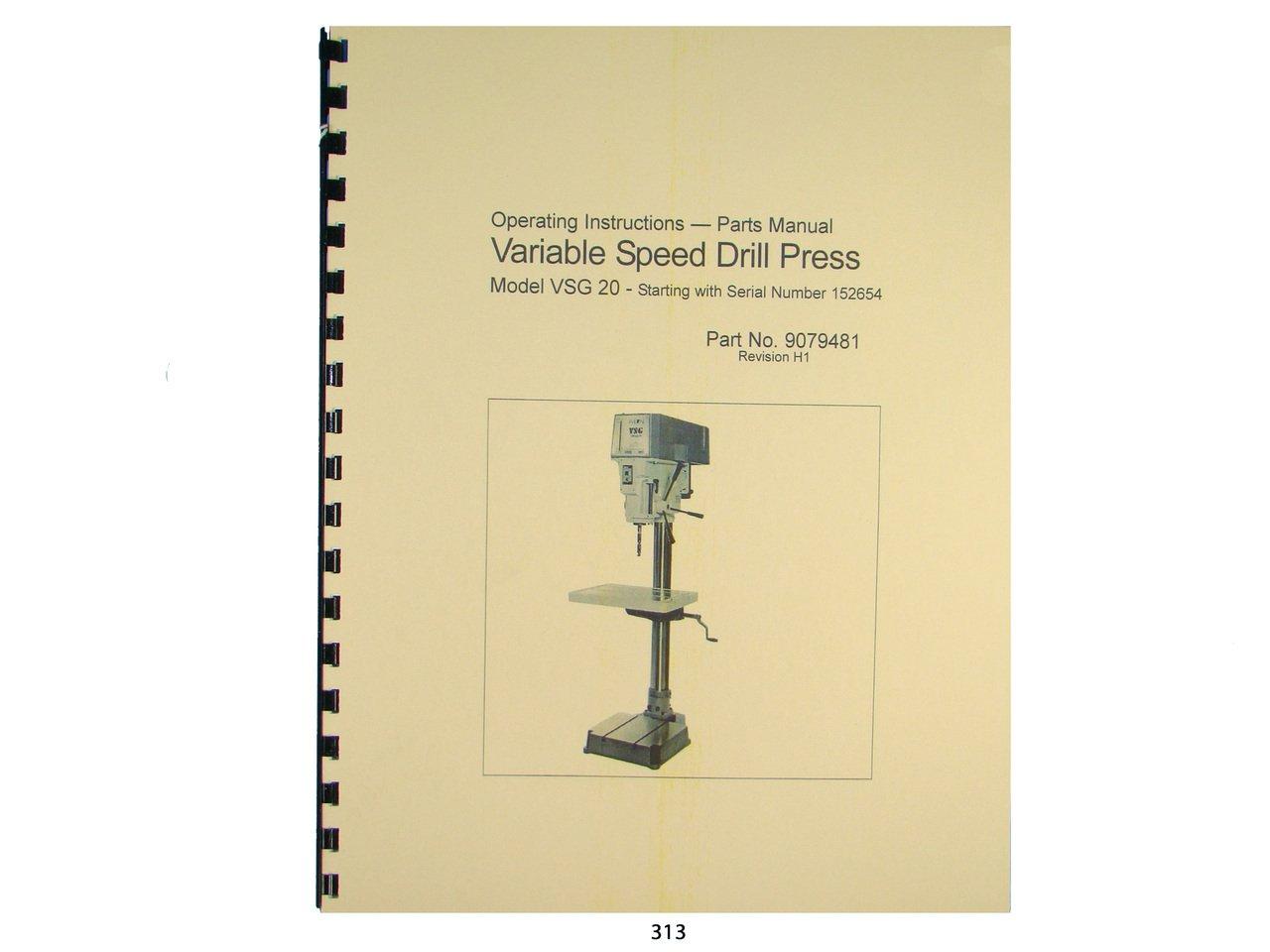 Wilton Model VSG-20 Variable Speed Drill Press Op Instruct & Parts Manual:  Wilton: Amazon.com: Books