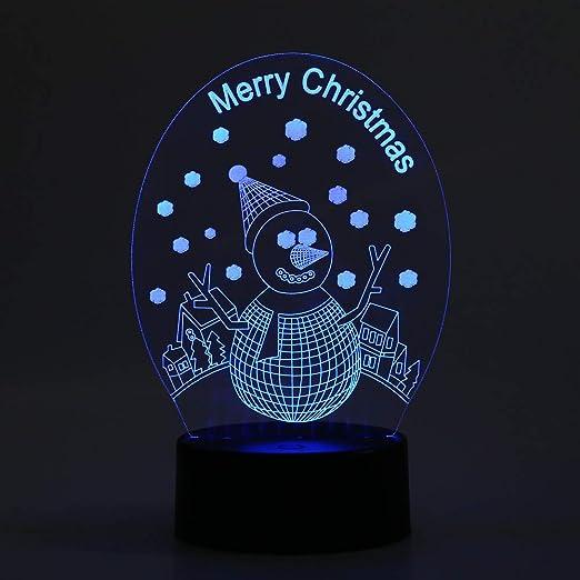KangYD Lámpara 3D de Navidad Snow Man, Decoración del hogar ...
