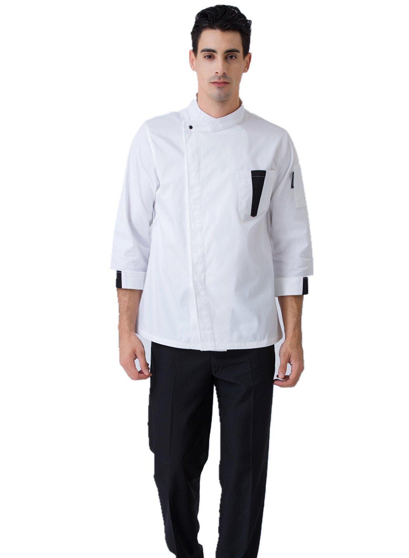 JXH Chef Uniforms men's white basic long sleeve chef coat kitchen