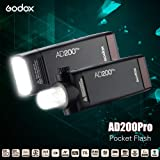 Anself Godox AD200Pro Pocket Flash Portable Wireless TTL Flash with Changeable Flash Head (Speedlite/Bare Bulb) GN52 GN60 1/8000s HSS 2.4G Wireless X System