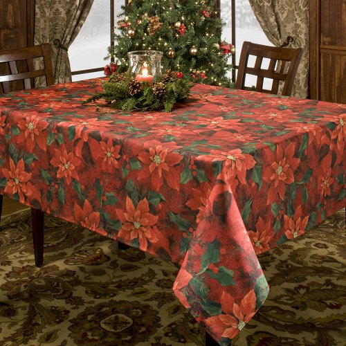 Laminated Fabric Tablecloth (Benson Mills PoinSetta Elegance Printed Fabric Tablecloth, 70 Inch)