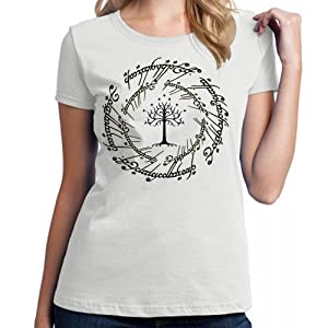 lord of the rings tree logo for Medium White women T shirt