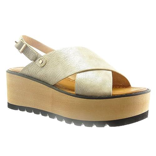cf415df3f8e Angkorly - Zapatillas Moda Sandalias Plataforma Abierto Mujer Tanga Talón  Plataforma 6.5 CM  Amazon.es  Zapatos y complementos