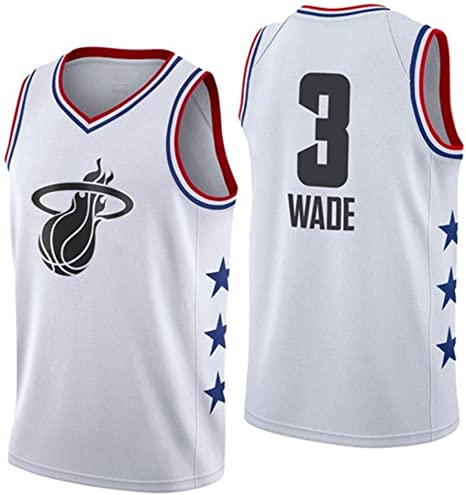 Shelfin - Camiseta de baloncesto de la NBA de Miami Heat del número 3 Wade, transpirable, grabada, color Blanco a, tamaño Small: Amazon.es: Hogar