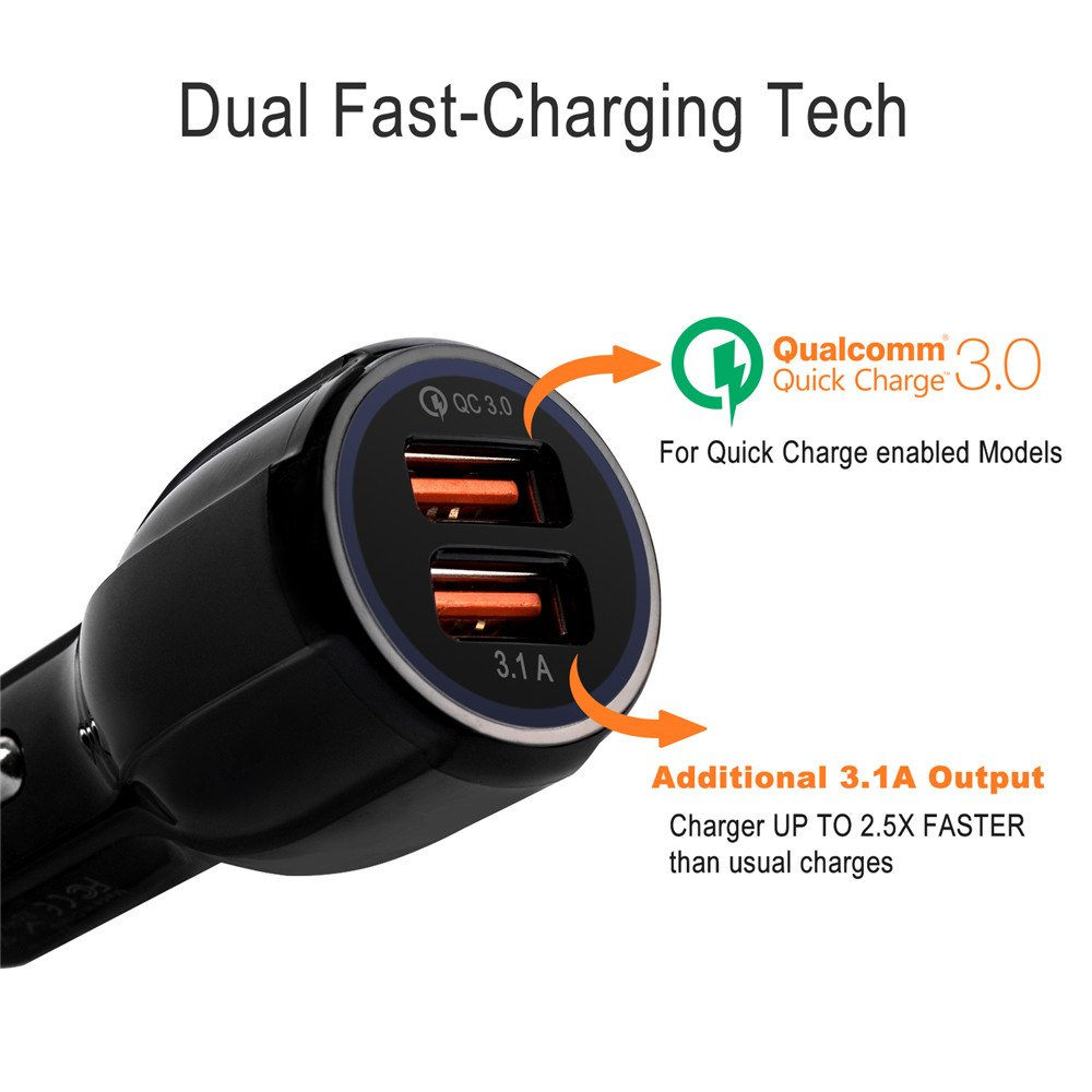 Dual USB Car Charger, Monokiller Quick Charge 3.0 + 2.4A Smart IC Portable Cell Phone Car Charger Adapter for Any iOS or Android Devices: Samsung ...