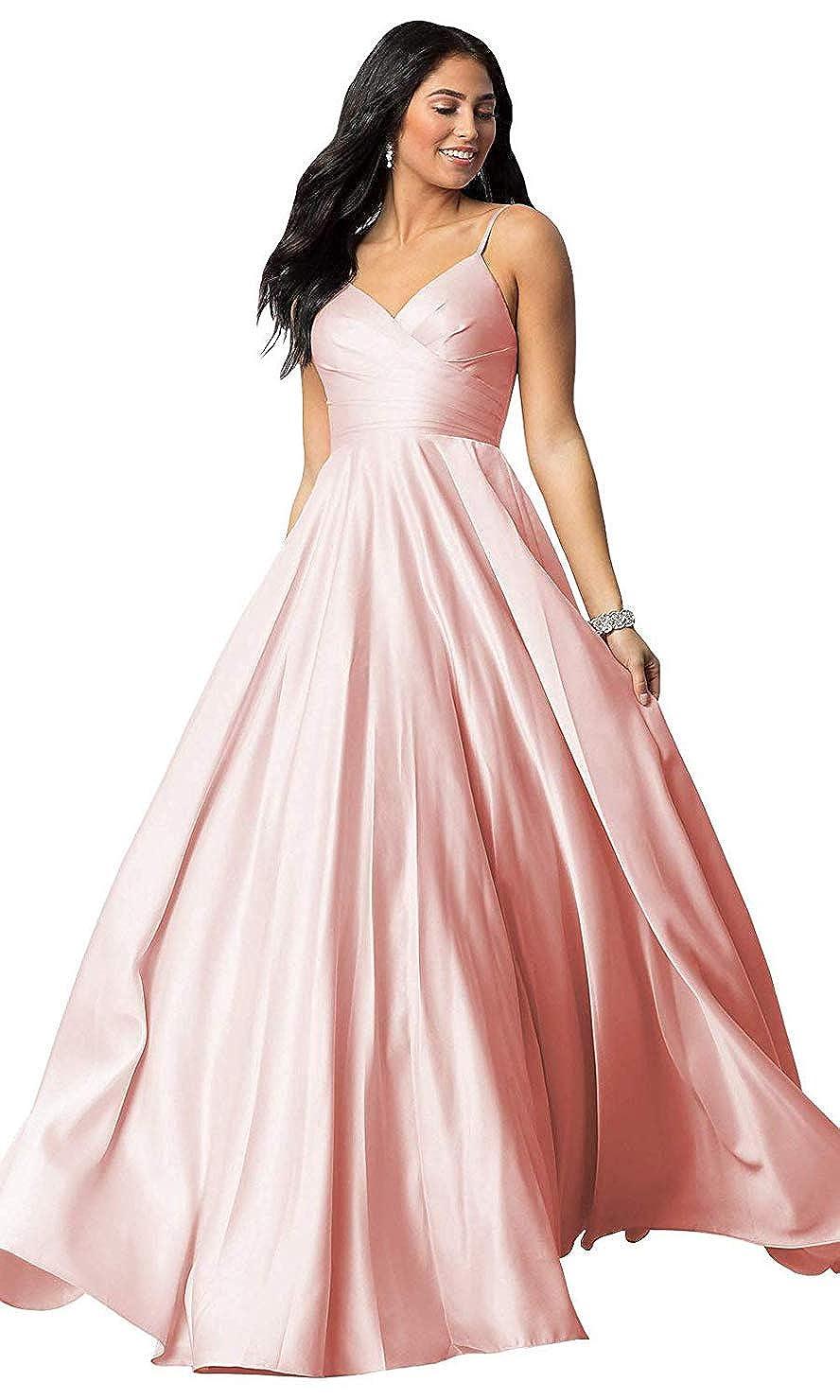 bluee FeiYueXinXing Satin VNeck Prom Dresses Long Spaghetti Strap Formal Prom Evening Gown