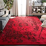 Safavieh ADR101F-6 Adirondack Collection ADR101F Oriental Vintage Distressed Area Rug, 6' x 9', Red/Black